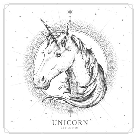 Modern magic witchcraft card with astrology Unicorn zodiac sign. Realistic hand drawing horse or unicorn head
