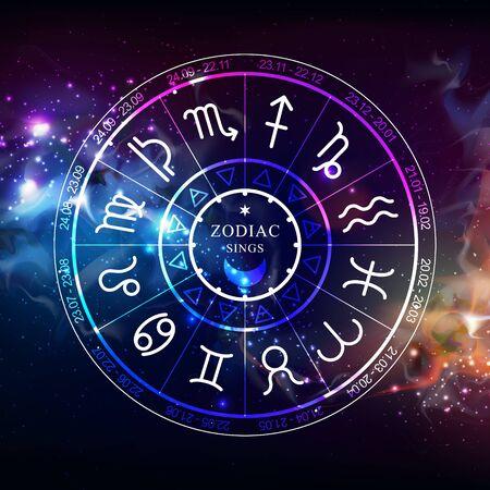 Roue d'astrologie avec signes du zodiaque sur fond d'espace ouvert. Illustration vectorielle horoscope Vecteurs