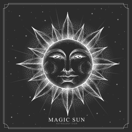 Modern magic witchcraft card with astrology sun sign with human face. Realistic hand drawing illustration of sun with human face
