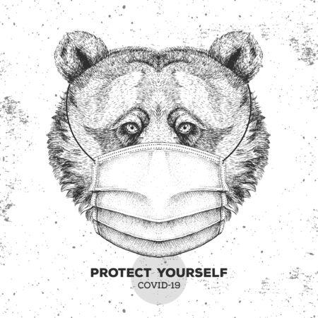 Hand drawing Animal bear wearing face medical mask. Covid-19 protection methods. Coronavirus Quarantine Warning. Vector illustration