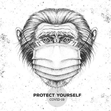 Hand drawing Animal monkey wearing face medical mask. Covid-19 protection methods. Coronavirus Quarantine Warning. Vector illustration