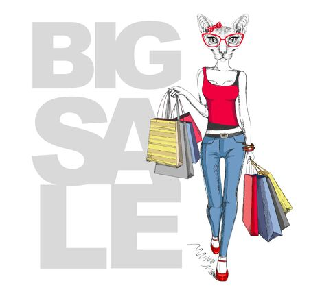 Retro Hipster animal sphynx cat. Big sale hipster poster with woman model