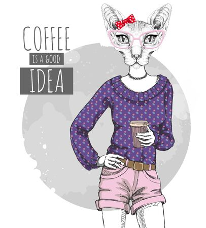 Retro Hipster fashion animal sphynx cat with coffee. Woman model 向量圖像