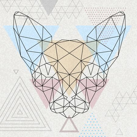 Hipster polygonal animal sphynx cat on abstract triangle background.Triangle animal. Ilustração