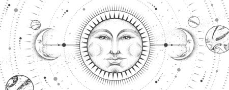 Modern magic witchcraft card with astrology sun and moon sign with human face on outer space background. Day and nignt. Realistic hand drawing vector illustration