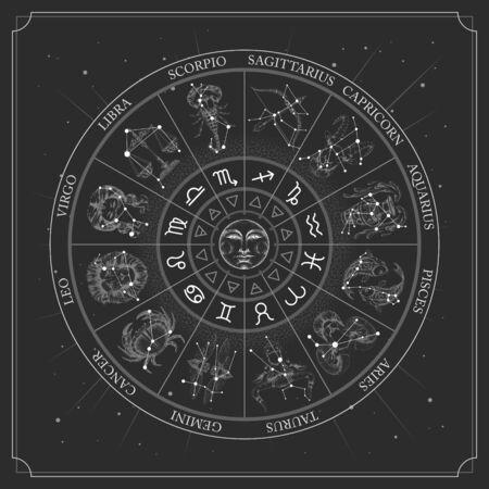 Astrologierad mit Tierkreiszeichen mit Konstellationskarte. Realistische Darstellung von Tierkreiszeichen. Horoskop-Vektor-Illustration Vektorgrafik