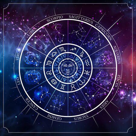 Roue d'astrologie avec signes du zodiaque avec carte de constellation. Illustration réaliste des signes du zodiaque. Illustration vectorielle horoscope