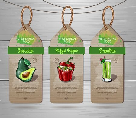Set of vegan labels. Vegetarian menu design with vegan meals. Restaurant menu
