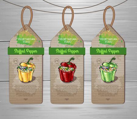 Set of vegan labels. Vegetarian menu design with vegan meal Stuffed pepper. Restaurant menu