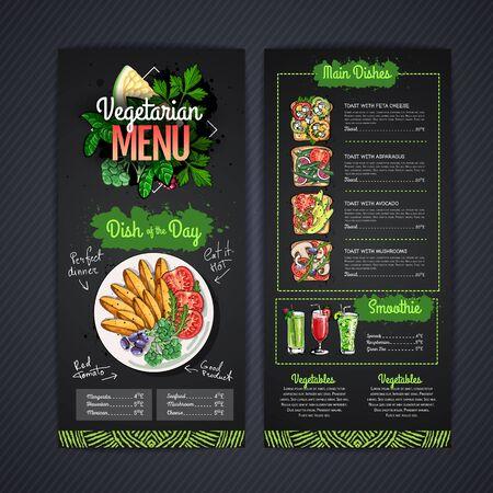 Chalk drawing Vegetarian menu design with vegan meals. Restaurant menu