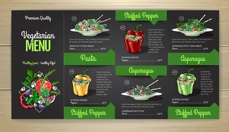 Vegetarian menu design with vegan meals. Restaurant menu
