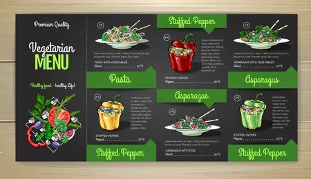 Vegetarian menu design with vegan meals. Restaurant menu