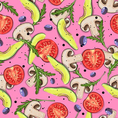 Seamless pattern with mushrooms, tomato, avocado, olives and arugula. Vegan background