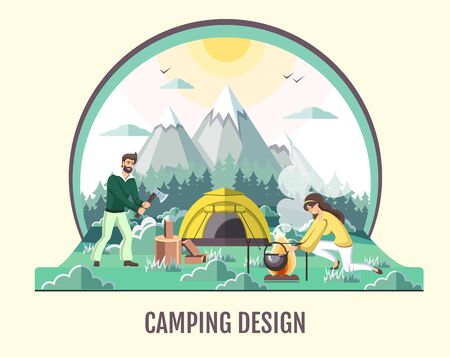 People camping in the wild nature. Mountain landscape. Outdoor adventure. Flat style vector illustration.
