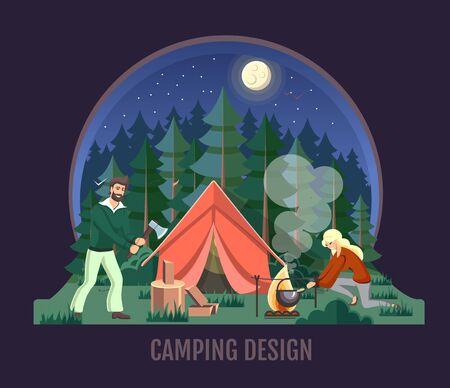 People camping in the wild nature. Outdoor adventure. Flat style vector illustration. Night scene Stock Illustratie