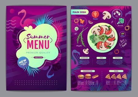 Restaurant summer tropical gradient menu design with fluorescent tropic leaves and flamingo. Fast food menu Иллюстрация