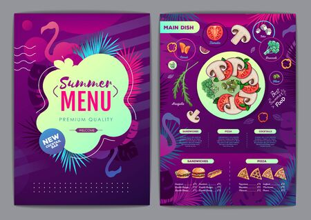 Restaurant summer tropical gradient menu design with fluorescent tropic leaves and flamingo. Fast food menu Illustration