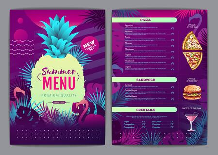Restaurant summer tropical gradient menu design with fluorescent tropic leaves and flamingo. Fast food menu Illustration