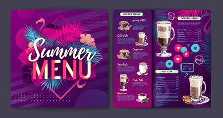 Restaurant summer tropical gradient coffee menu design with fluorescent tropic leaves and flamingo. Ilustração