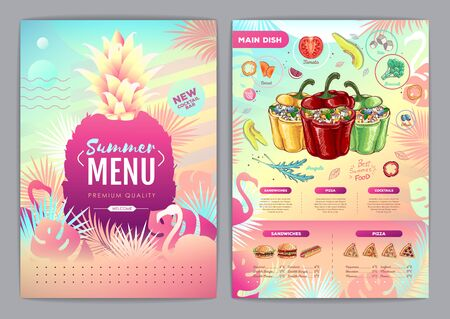 Restaurant summer tropical gradient menu design with fluorescent tropic leaves and flamingo. Fast food menu Ilustração