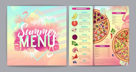 Restaurant summer tropical gradient pizza menu design with fluorescent tropic leaves and flamingo. Fast food menu