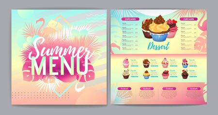 Restaurant summer tropical gradient dessert menu design with fluorescent tropic leaves and flamingo.