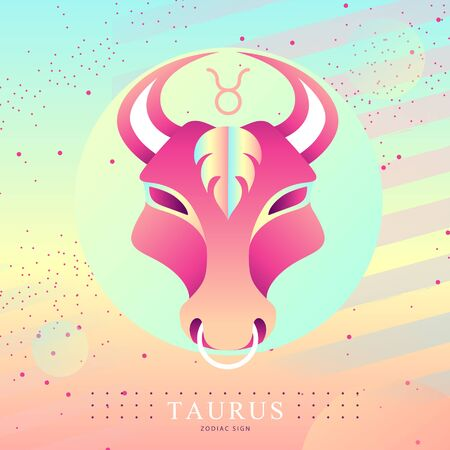 Modern magic witchcraft card with astrology Taurus zodiac sign. Bull head  design