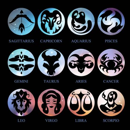 Set of astrology zodiac signs on outer space background. Vector illustration Ilustración de vector