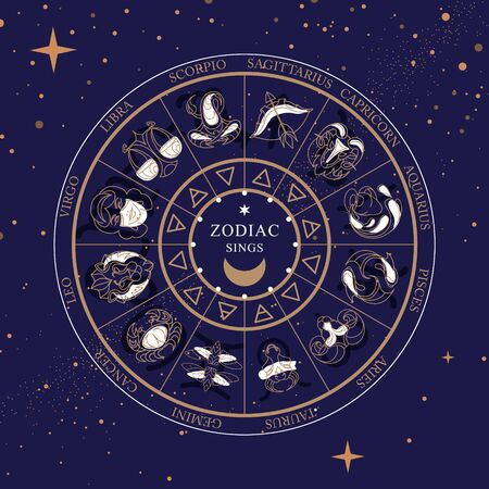 Modern magic witchcraft Astrology wheel with zodiac signs on space background. Horoscope vector illustration Ilustración de vector