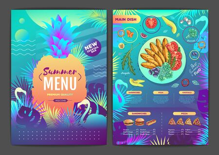 Restaurant summer tropical gradient menu design with fluorescent tropic leaves and flamingo. Fast food menu