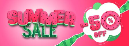 Colorful summer big sale poster with watermelon. Summertime background