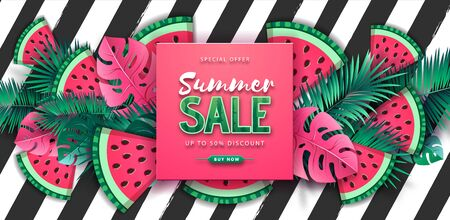 Summer big sale poster with watermelon and tropic leaves on striped background. Summertime background. Vector illustration 일러스트
