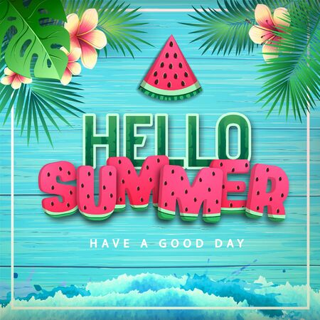 Typography hello summer poster with watermelon type on blue background. Summertime background