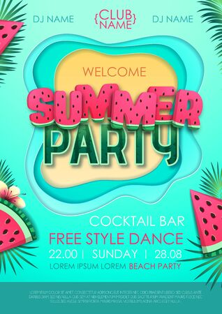 Summer disco party poster with watermelon and tropic leaves. Vector illustration