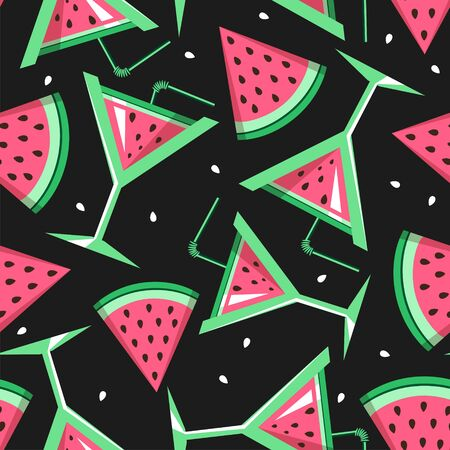 Seamless pattern with watermelon slices and cocktails. Vector illustration. Watermelon summer background  イラスト・ベクター素材