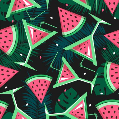 Seamless pattern with watermelon slices, cocktails and tropic leaves. Vector illustration. Watermelon summer background