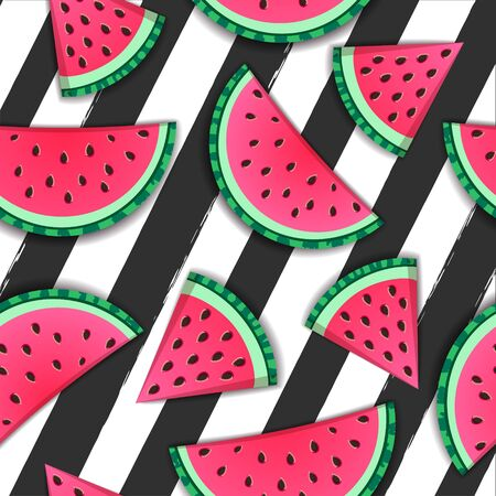 Seamless pattern with watermelon slices on striped black and white background. Vector illustration. Watermelon summer background Illustration