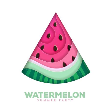 Cut out Silhouette of watermelon slice. Cut out paper art style design. Vector illustration Illustration