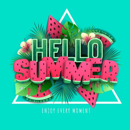 Typography hello summer poster with watermelon and tropic leaves. Summertime background. Vector ilustration 일러스트