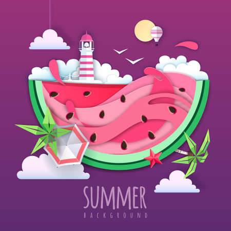 Summer cocktail party poster with watermelon and tropic leaves. Vector illustration