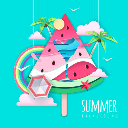 Slice of watermelon with sea or osean landscape and cocktail inside. Summer beach background. Cut out paper art style design. Origami