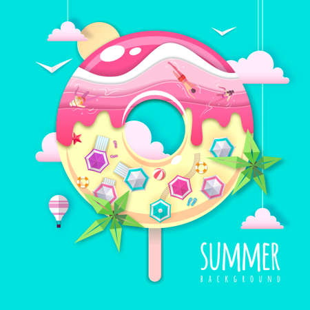 Donut with sea or osean island landscape inside. Summer beach background. Cut out paper art style design. Origami