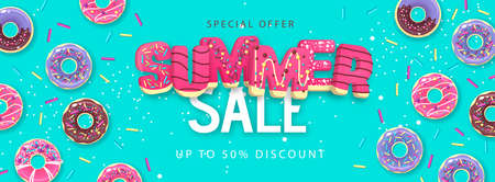 Colorful summer big sale poster with sweet donuts on rainbow background. Summertime background. Junk food background. Typography design Illustration