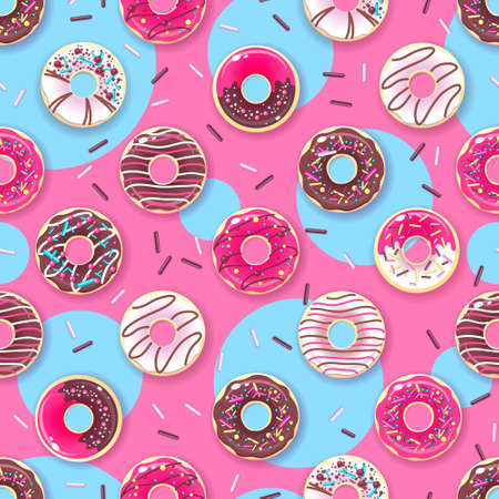 Seamless pattern of colorful sweet donuts. Junk food background
