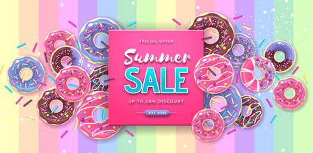 Colorful summer big sale poster with sweet donuts. Summertime background. Junk food background. Typography design Ilustración de vector