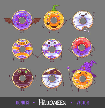Set of colorful halloween kawaii funny donuts. Sweet fast food vector illustration