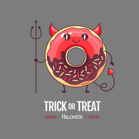 Halloween Kawaii funny donut devil. Sweet fast food vector illustration. Halloween Graphic print sign