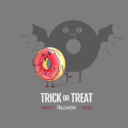 Halloween Kawaii funny donut with spooky shadow. Sweet fast food vector illustration. Halloween Graphic print sign Ilustracja