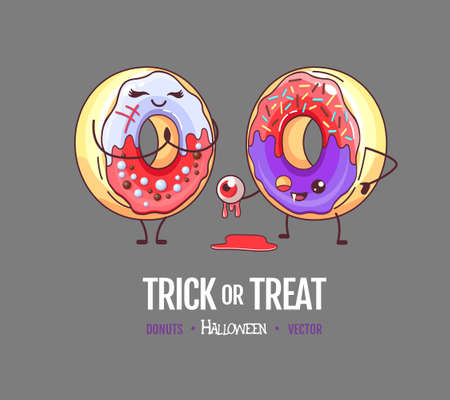 Halloween Kawaii funny donuts couple. Sweet fast food vector illustration. Halloween Graphic print sign