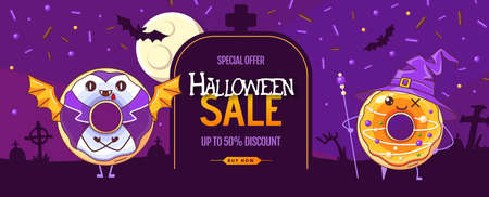 Halloween big sale poster with kawaii sweet donuts. Halloween background. Vector illustration Ilustracja
